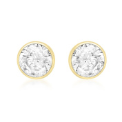 Carissima Gold Yellow Gold 5mm Round Cubic Zirconia Stud Earrings