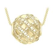 Carissima Gold 9ct Yellow Gold Diamond Cut Mesh Ball Pendant Necklace of Length 46cm