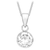 Carissima Gold 9 ct White Gold Round Cubic Zirconia Pendant on Adjustable Curb Chain Necklace