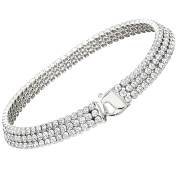 Citerna Sterling Silver and Rhodium Plated 3 Row Tennis Bracelet Filled with Crystals of 18.5 cm