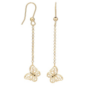 Citerna 9ct Yellow Gold Chain Butterfly Earrings