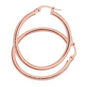 Citerna AR057R 9 ct Rose Gold Side Diamond Cut Round Hoop Earrings