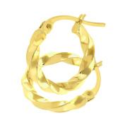 Citerna UER094Y 9 ct Yellow Gold Chiselled Twist Hoop Earrings