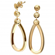 Citerna Triple Diamond Cut Chiselled Teardrop 9 ct Yellow Gold Large Drop Earrings