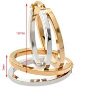 Citerna 9 ct Yellow and White Gold Fine Split Open Oval Hoop Earrings