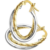 Citerna 9 ct Yellow Gold with White Gold Diamond Cut Hoop Earrings of 15 mm Diameter