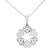 Citerna 9 ct Hearts Pendant Necklace with CZ Stones in Circle of Hearts