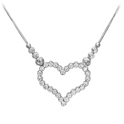 Citerna Sterling Silver and Rhodium Plated Heart Necklace, Filled With Crystals of 46cm