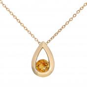 Citerna 9 ct Yellow Gold 0.20 ct Citrine Teardrop Pendant + 46 cm Chain