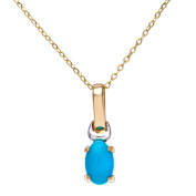 Citerna 9 ct Yellow and White Gold Turquoise Birth Stone Pendant + 46cm Yellow Gold Trace Chain