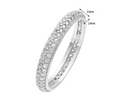 Elegano Tulip Rhodium Plated Silver Double Row Clear Cubic Zirconia Full Eternity Ring