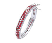 Elegano Tulip Rhodium Plated Silver Double Row Red Cubic Zirconia Full Eternity Ring