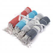 Turkish Beach / Bath Hammam Peshtermal Towel. Traditional Design 100% Cotton - Set of 4 Different Colours