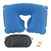 YRD TECH Inflatable Travel Pillow Neck U Rest Air Cushion+ Eye Mask+Earbuds