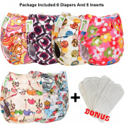 6pcs+6 INSERTS Adjustable Reusable Lot Baby Washable Cloth Nappy Nappies