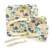 Children's 5 Piece Bamboo Dinner set. Kids Plate, Bowl, Cup, Knife & Fork - Dinosaurs