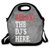 Relax The DJ's Here Large & Thick Insulated Tote GroceryBags Black Lunch Bag For Men Women Kids Art Of Lunch