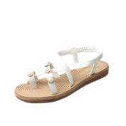 Ecurson Women Comfy Flat Elegant Clip Toe Pearl Beaded Sandals (US:7.5