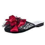 Ecurson Women Summer Beach Slide On Sandals Slippers Flat Heels Bohemia Lace Bow Sandals (US:5.5