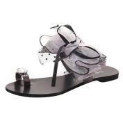 Ecurson Summer Women Bow Tie Flower Flat Sandals Casual Fashion Flip Flops Clip Toe Shoes (US:7