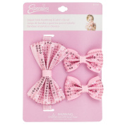 INFANT 3PC METALLIC SEQUIN BOW HEADWRAP & SALON CLIP SET