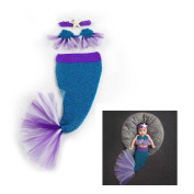 Newborn Infant Handmade Photo Prop Mermaid Outfit Clothes Knit Crochet Baby Photography Props Blue