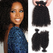 ASHAIR Brazilian Kinky Curly Hair 3 Bundles Unprocessed Human Hair Extensions Brazilian Afro Curly Human Hair Bundles Natural Colour #1B