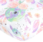 "Premium Fitted Cotton Crib Sheet / Toddler Sheet ""Bloom Floral"" by Copper Pearl"