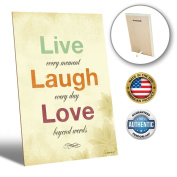 ZENDORI ART Live Laugh Love Desk Plaque Decor - Inspirational French Country Decorative Signs for Family