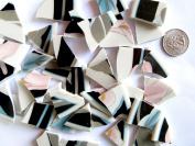 45 Black, White, and Pink Mosaic Tiles, Broken China Mosaic Pieces, Ceramic Mosaic Tiles, Mosaic Art Supplies, Tile Mosaic Supply, Mosaic Craft Tiles, Broken Dish Pieces