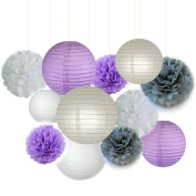 Fascola 12 pcs White Lavender Grey Purple 25cm 20cm Tissue Paper Pom Pom Paper Lanterns Mixed Package for Lavender Themed Party Bridal Shower Decor Baby Shower Decoration