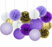 Sopeace Party Decoration Kit Purple Gold Tissue Paper Pom Poms Flowers Papers Lanterns Circle Garland Birthday Wedding Christening Frozen Theme Party Decorations for Adults Boys Girls