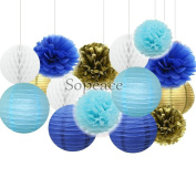 Sopeace Mixed Gold Navy Gold Blues Party Decoration Kit Tissue Paper Pom Poms Flowers Paper Lanterns and Star Garland for Birthday,Baby,Bridal Shower,Room decor & Themed Party Decoration Favour