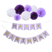 Sopeace Happy Birthday Banner Bunting Kit, Wartoon Paper Pom Poms flowers Ball with Hanging Party Decorations Banner flags for Birthday Party Decorations -