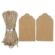 Gilroy 100pcs Vintage Kraft Paper Blank Tags with Jute Twine for DIY Gifts Crafts Price Luggage Name Tags