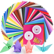 Coopay 50 Vivid Colours 200 Sheets Single Sided Origami Paper with 3 Pieces DIY Elastic Craft String Set for Arts Crafts Projects