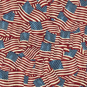 Patriotic US Flags, Waving, All Over, Stonehenge, Land of Free, Quilts of Valour, Northcott, 20158-49, By the Yard