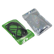 50Pcs 16x24cm (6.3x9.4 inch) Mylar Foil Self Seal Zip Lock Pack Bags Laser Green Aluminium Foil Packaging Pouch for Electronic Accessories