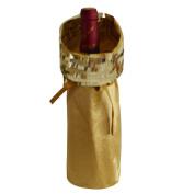Gireshome Gold Glitter & Velvet Wine Bottle Cover Bag for Table Decorations Gift Bag Christmas Wine Bottle Bag Christmas Hostess Decoration Wine Bottle Cover Christmas Gift