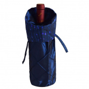 Gireshome Blue Glitter & Pintuck Wine Bottle Cover Bag for Table Decorations Gift Bag Christmas Wine Bottle Bag Christmas Hostess Decoration Wine Bottle Cover Christmas Gift