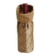Gireshome Gold Glitter & Pintuck Wine Bottle Cover Bag for Table Decorations Gift Bag Christmas Wine Bottle Bag Christmas Hostess Decoration Wine Bottle Cover Christmas Gift