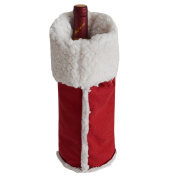 Gireshome Red Suede & Sherpa Wine Bottle Cover Bag for Table Decorations Gift Bag Christmas Wine Bottle Bag Christmas Hostess Decoration Wine Bottle Cover Christmas Gift