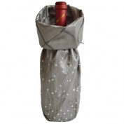 Gireshome Silver Glitter & Pintuck Wine Bottle Cover Bag for Table Decorations Gift Bag Christmas Wine Bottle Bag Christmas Hostess Decoration Wine Bottle Cover Christmas Gift