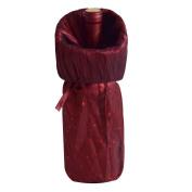 Gireshome Burgundy Glitter & Wrinkle Wine Bottle Cover Bag for Table Decorations Gift Bag Christmas Wine Bottle Bag Christmas Hostess Decoration Wine Bottle Cover Christmas Gift