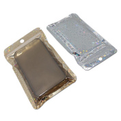 100Pcs 12x22cm (4.7x8.7 inch) Gold Zip Lock Aluminium Foil Plastic Packing Bag Laser Front Clear Back Silver Inner Gold Packaging Pouch