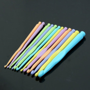 BCHZ 1 Set New Multicolor Plastic Knitting Needles Crochet Hooks Knit Needle 12Sizes