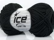 Black Fettuccia Cottonac Fine Yarn - Cotton, Acrylic Blend 50 gramme 191 yards