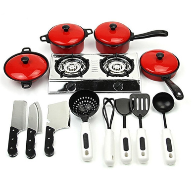 Sanjose81 Kids Kitchen Cooking Food Utensils Pans Pots Dishes Cookware Supplies Play Toy