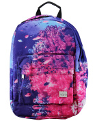 Tropical Coral Fish Print Rucksack. Pink and Purple. Laptop divider. Light use backpack. Day, school, college bag.