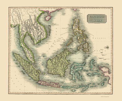 Old Asia Map - East India Isles - Thomson 1814 - 23 x 27.81 - Bright Canvas